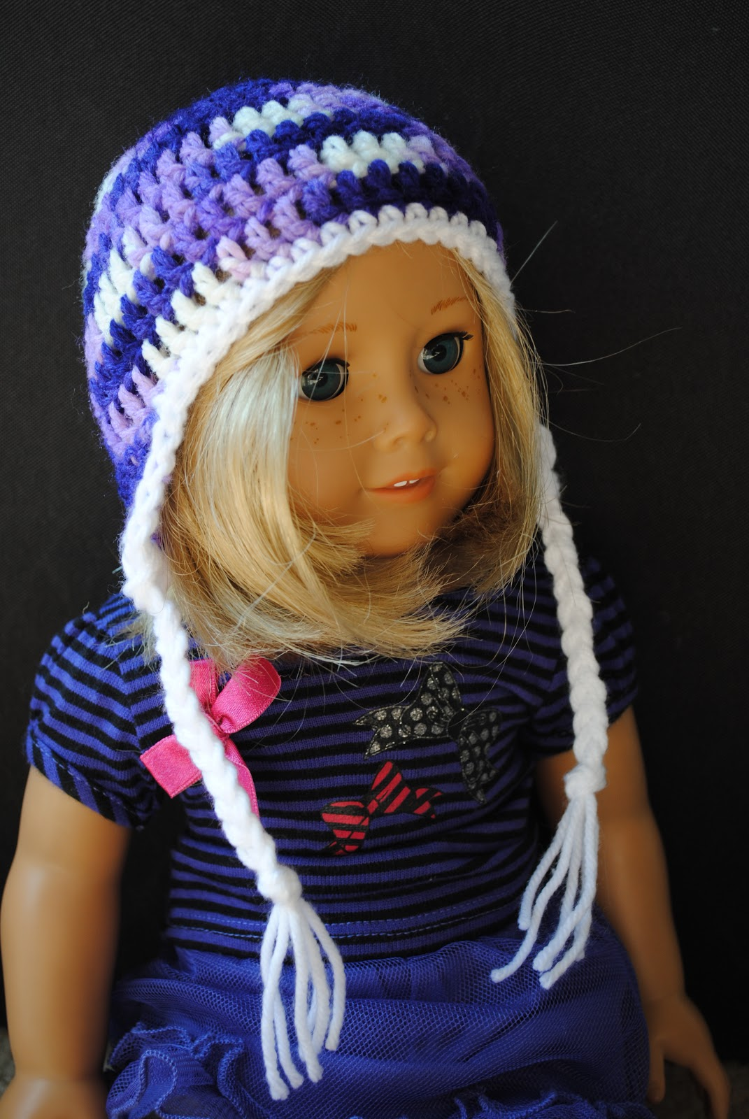 Earflap hat for 18inch doll free pattern bluestripedroom since it does get rather cold only sometimes around these parts naturally kit needed an earflap hat just like her big sisters have bankloansurffo Choice Image